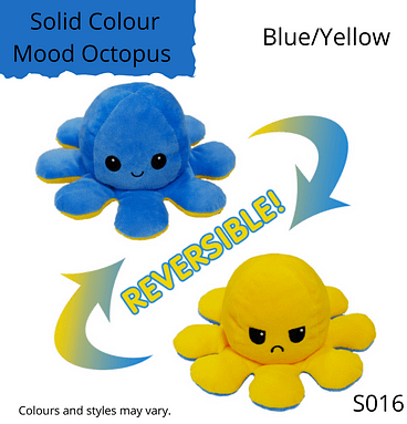 Blue/Yellow Solid Colour Mood Octopus