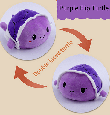 Happy/Angry flip plush toy mood turtle purple colour
