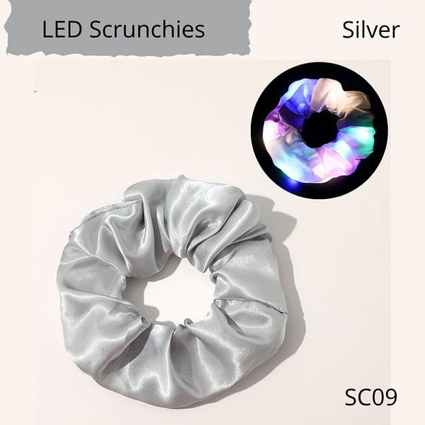 LED flashing hair scrunchie, silver colour