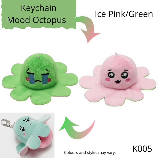 Ice Pink/Green Keychain Mood Octopus