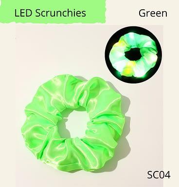 LED flashing hair scrunchie, green colour