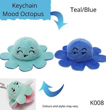Teal/Blue Keychain Mood Octopus