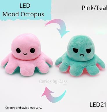 Pink/Teal LED Light Up Mood Octopus