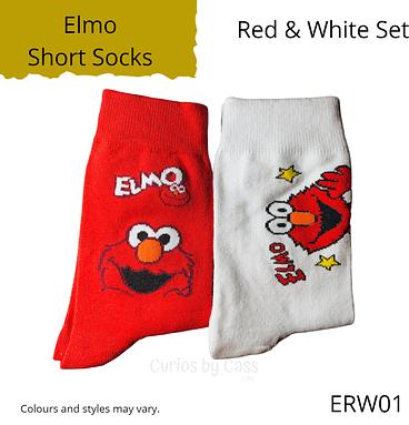 Red & White Elmo Short Socks