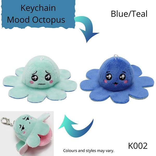 Blue/Teal Keychain Mood Octopus