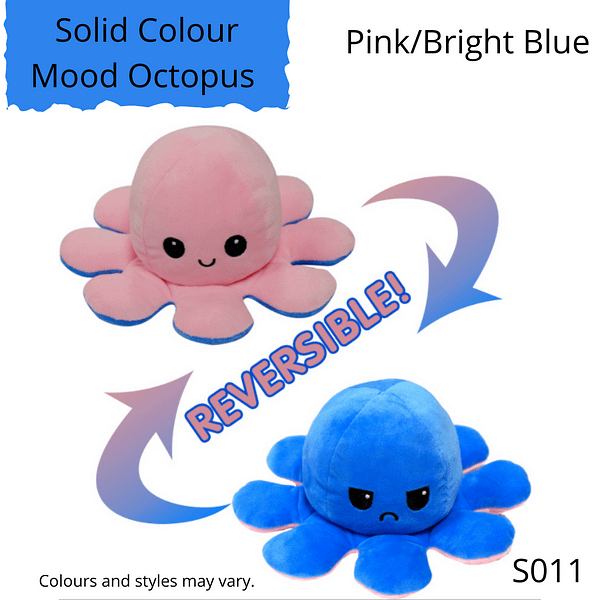 Pink/Bright Blue Solid Colour Mood Octopus