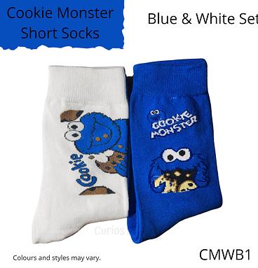 Blue & White Cookie Monster Socks