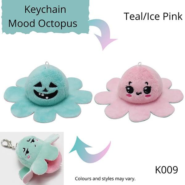 Teal/Ice Pink Keychain Mood Octopus