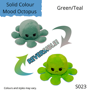 Green/Teal Solid Colour Mood Octopus