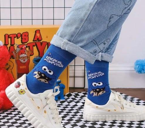 Blue Cookie Monster Socks