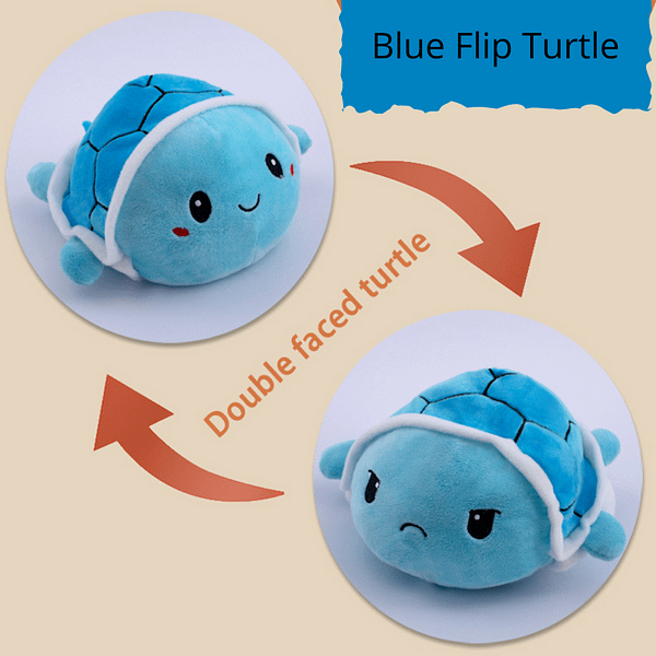 Happy/Angry flip plush toy mood turtle blue colour
