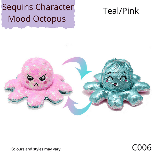 Teal/Pink Sequins Character Mood Octopus