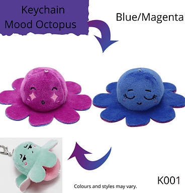 Blue/Magenta Keychain Mood Octopus