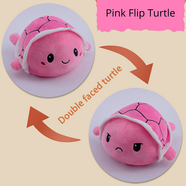 Happy/Angry flip plush toy mood turtle pink colour